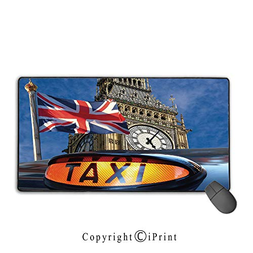 Cab Ground Effects - Gaming Mouse pad,Union Jack,Union Jack Flagon Pole and Big Ben Taxi Cab Urban Modern Country Symbols Image,Multicolor,Suitable for laptops, Computers, PCs, Keyboards, Mouse pad with Lock,9.8