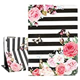 Hepix Floral iPad Case 9.7' Pink Flowers iPad Air 2 Cases with Butterfly, Lightweight Protective iPad 5th Gen Case, Slim PU LeatherTrifold Stand with Auto Sleep Wake Function Hard Back for iPad 9.7'