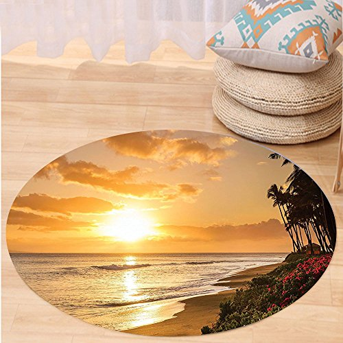 VROSELV Custom carpetHawaiian Decorations Warm Tropical Sunset On Sands Of Kaanapali Beach in Maui Hawaii Destination For Travel Bedroom Living Room Dorm Decor Round 72 inches by VROSELV