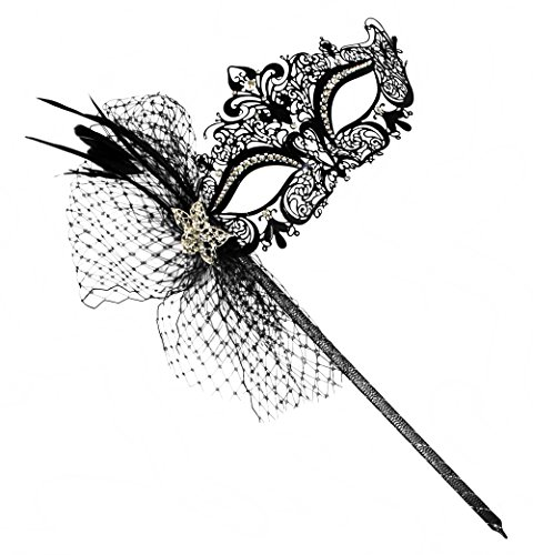 [Simone Deluxe Laser-Cut Metal Black Venetian Women's Masquerade Mask on a Stick] (Masquerade Masks Metal)