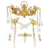 Crystal Crown, Beautiful headdress/Retro Dragon And Phoenix Gown Phoenix Crown Tassels And Swing Ornaments Chinese Brides Show Clothes Ancient Wedding Headwear.