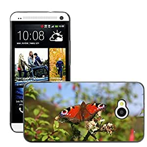 Super Stella Slim PC Hard Case Cover Skin Armor Shell Protection // M00147042 Butterfly Wings Red Insect Wing // HTC One M7