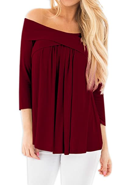 b59415eb6b62 Women Drape Casual Swing Pleated Blouse Ruffle Off Shoulder Cotton 3 4  Sleeve Shirt Tops Maroon S at Amazon Women s Clothing store