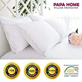 Papahome Hypoallergenic Pillow Protector (Set of 2) - Lab Tested Waterproof - Zippered Polyester Jersey Cover - Vinyl Free - 10 Year Warranty  (Standard)