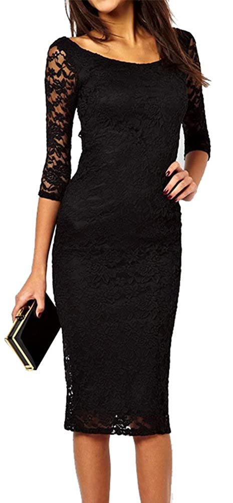 Amazon.com  made2envy Boat Neckline 2 3 Sleeves Lace Overlay Evening Midi  Dress (S 5c7a860c19