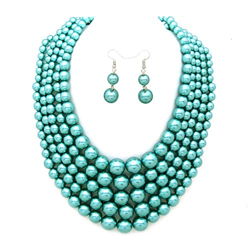 Women's Simulated Faux Pearl Five Multi-Strand Statement Necklace and Earrings Set (Teal Tone)