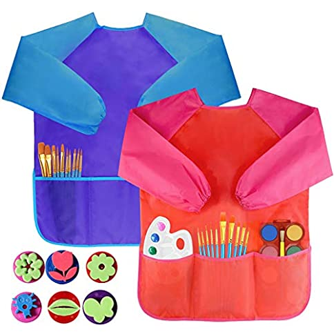 - 51nQe79gvaL - Pack of 2 Children's Art Smocks, Waterproof Artists Painting Aprons Long Sleeve with 3 Pockets for Age 2-6 Years, Including 6 Kids Sponge Painting Brushes