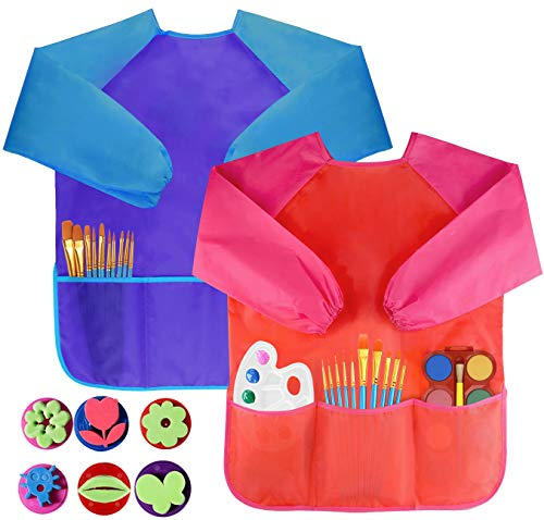 Pack of 2 Children's Art Smocks, Waterproof Artists Painting Aprons Long Sleeve with 3 Pockets for Age 2-6 Years, Including 6 Kids Sponge Painting Brushes