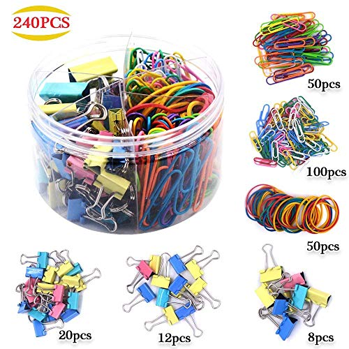 Monody Assorted Muti-Colored Paper Clips, Rubber Bands, Binder Clips, Paper Clamps, Small Paper Clips, Jumbo Paper Clips, Mini Binder Clips Small Binder Clips Medium Binder Clips