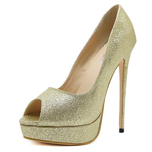 ZHZNVX Boca de Pescado zapatos de tacón clásico boca de pescado zapatos de tacón street Un clásico boca de pescado zapatos de tacón Golden