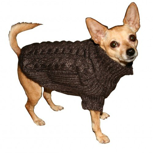 Hip Doggie Angora Fur Cable Knit Dog Sweater (L) (Brown)