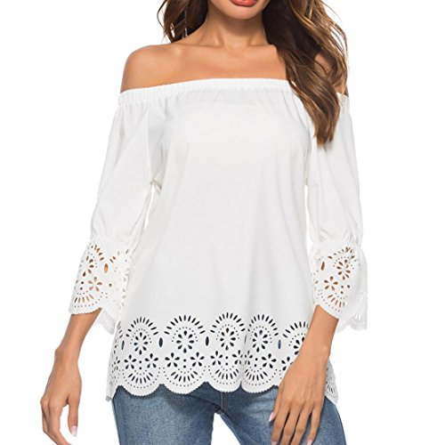 Off Shoulder Blouse for Womens, FORUU Casual Hollow Out 3/4 Sleeve Tops T-Shirt (S, White)