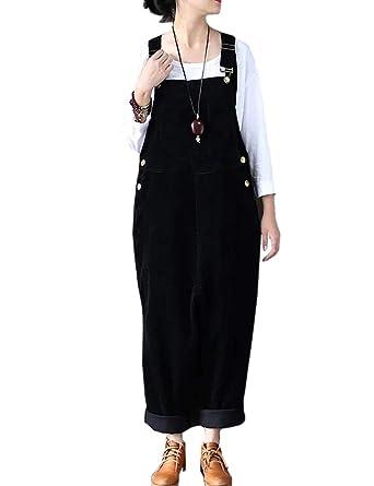 45c714dc257 Flygo Women s Vintage Baggy Wide Leg Drop Crotch Corduroy Bib Overalls  Jumpsuits Pants (US 8