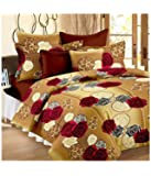 MACHERAON 150 TC 100% Cotton Double Bedsheet with 2 Pillow Covers Size 90 by 90 3D Printed Multi Colour