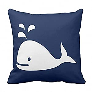 Emvency Throw Pillow Cover Beach Whale Nautical in Navy Blue and Nursery Decorative Pillow Case Home Decor Square 16 x 16 Inch Pillowcase