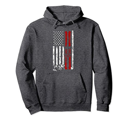 an Flag Skiing Hoodie for Men XL Dark Heather ()
