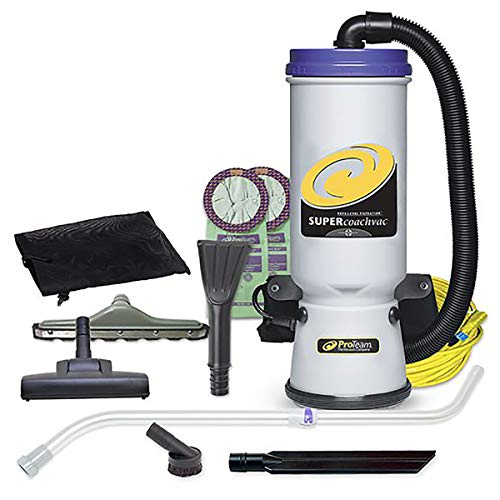ProTeam Commercial Backpack Vacuum Cleaner, Super CoachVac Vacuum Backpack with HEPA Media Filtration and Residential Cleaning Service Kit, 10 Quart, Corded (Pro Carpet Floor Cleaning)