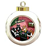 Home of American Staffordshire 4 Dogs Playing Poker Round Ball Christmas Ornament