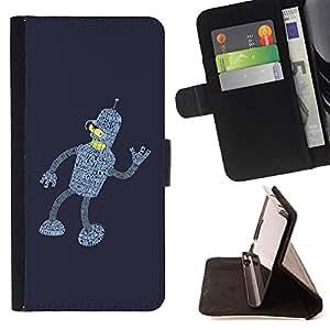 BullDog Case - FOR/LG G2 D800 / - / Bending Future Robot /- Monedero de cuero de la PU Llevar cubierta de la caja con el ID Credit Card Slots Flip funda de cuer