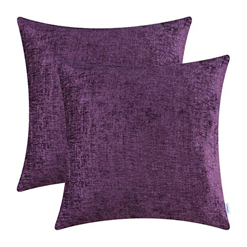 (CaliTime Pack of 2 Cozy Throw Pillow Covers Cases for Couch Sofa Home Decoration Solid Dyed Soft Chenille 22 X 22 Inches Plum Purple)