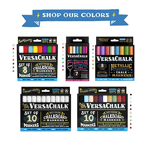 Metallic Liquid Chalk Marker Pens by VersaChalk (6mm Bold Chisel + Bullet Tip) – 8 Metallic Colors | Dust Free, Water-Based, Non-Toxic by VersaChalk (Image #5)