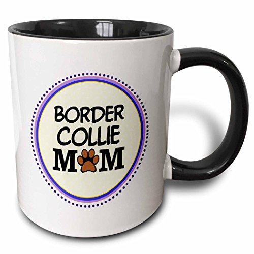 Print Mum (3dRose InspirationzStore Pet designs - Border Collie Dog Mom - Doggie mama by breed - paw print mum love - doggy lover - proud pet owner - 15oz Two-Tone Black Mug (mug_151701_9))