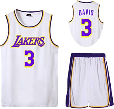 Basketball Jersey Suits For Men Davis 3 Lakers City Edition Classic Sleeveless Uniform Quick Dry Competition Training Party Daily Life White Yellow