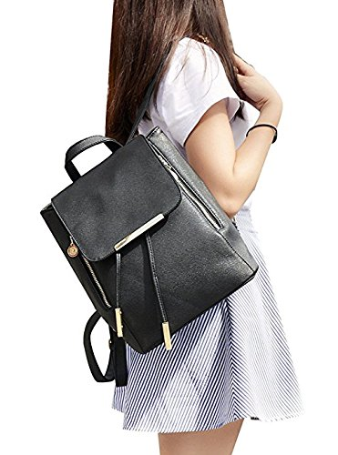 Backpacks,Sunroyal Women Girls Leather Schoolbags Travel Casual Shoulder Bag Mochila-Black by Sunroyal (Image #2)