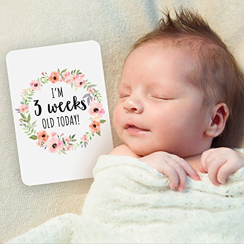 Baby Milestone Cards, Set of 26 - Newborn First Year Progress Report Cards with Cute Sayings and Floral Wreath Prints - Unique Baby Shower Gift for New Moms, Parents - for Girls by CoCreative Design (Image #4)