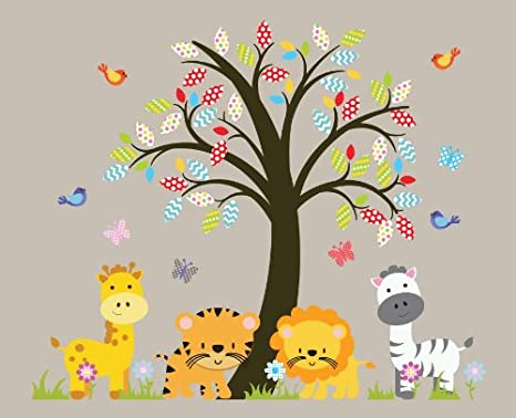 Amazoncom Zoo Animals Nursery Tree Wall Decal Jungle Animals - Wall decals jungle