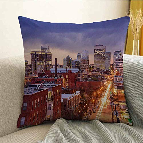 FreeKite Bedding Soft Pillowcase Hypoallergenic Pillowcase Richmond Virginia Highway Office Buildings Downtown at Dusk Urban Lifestyle W18 x L18 Inch Multicolor