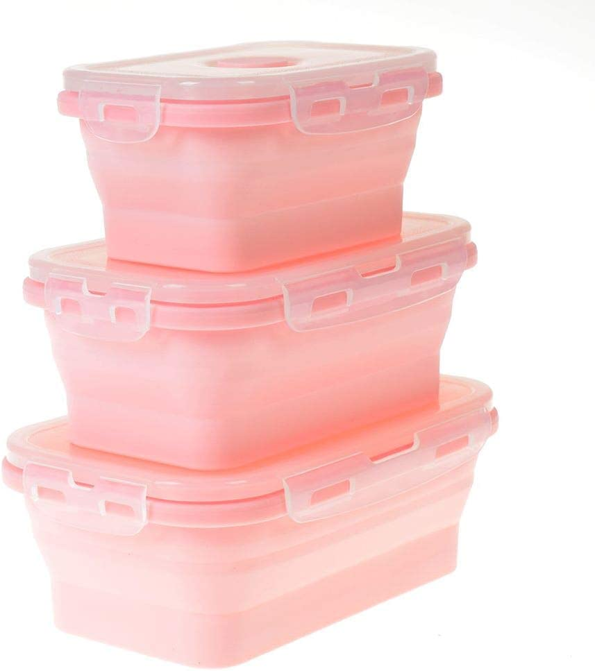 MOTZU 3 Pack Elegant,Fashionable & Folding Food Storage Containers,Silicone Collapsible Lunch-box(Pink)