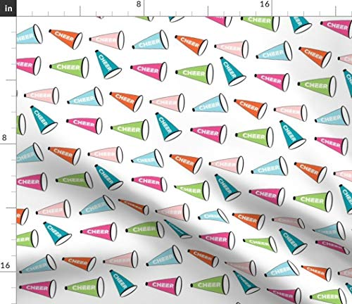 Spoonflower Cheer Fabric - Cheer Cheerleader Football Megaphone Teal Cheer Cheerleader Football Girls Spirit Team Sport by Drapestudio Printed on Fleece Fabric by The Yard