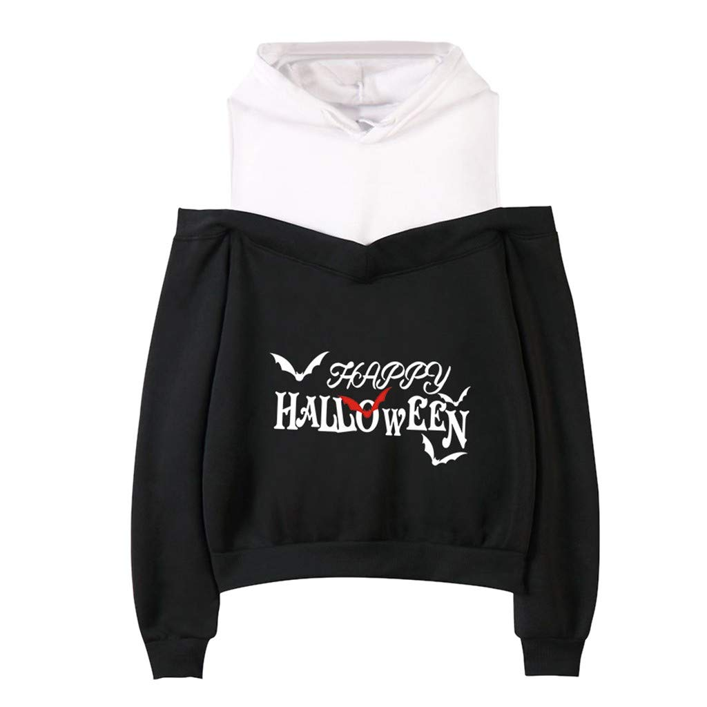 Women Sexy Letter Printer Helloween Long Sleeve Warm Off Shoulder O-Neck Casual Outdoor Hooded Pullover Tops Blouse Shirt Sweatshirt Bohemia Style by QQ1980s