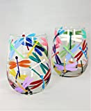 Hand painted stemless wine glasses with multi-colored dragonflies
