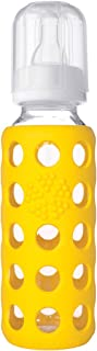 product image for Lifefactory 9-Ounce BPA-Free Glass Baby Bottle with Silicone Sleeve, Yellow