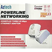 Aztech HL105E Twin Pack Homeplug Turbo 85 Mbps Powerline Adaptor