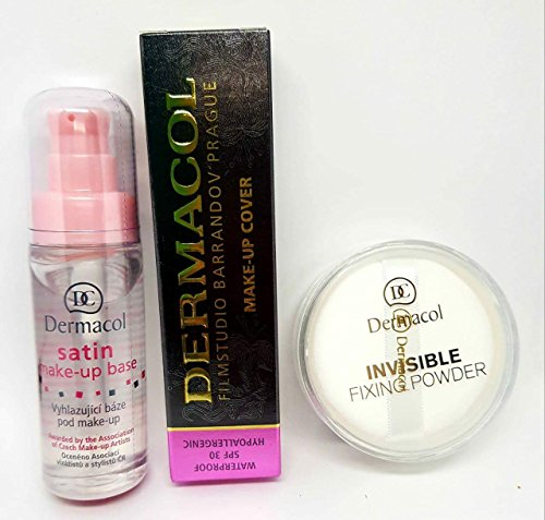 KIT Dermacol Make-up Cover Full coverage foundation concealer makeup + Dermacol Primer Satin make up base 30ml + Dermacol Invisible Fixing Powder white BUNDLE (SHADE 208) 100% ORIGINAL Guarantee