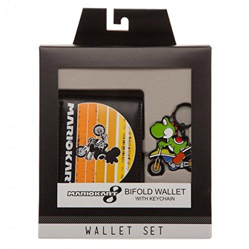 Mario Kart Keychain - Nintendo Mario Kart Yoshi Gift Box Set Bifold Wallet and Keychain