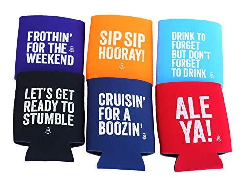 Thirsty Merchants Funny 6 pack Beer Coolie/Soft Insulated Sleeve For Cooler Beer, Soda, Drinks, Beverages/Perfect for 21st Birthdays Or Epic Parties (Funny Coozies For Cans)