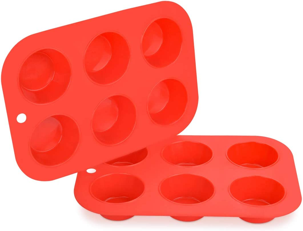Silicone Muffin Pan Cupcake Pans - 6 Cups Regular Size 160G Silicone Baking Molds 2 Pack Nonstick BPA Free