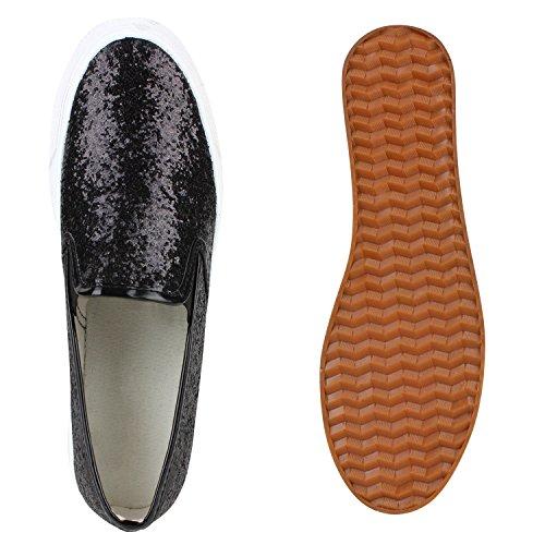 Glitzer Flandell Plateau Damen Stiefelparadies Ons Slip Sneaker Schwarz mit 7PqqYT0