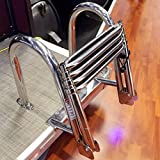 FidgetFidget Dock Ladder Stainless Steel Inboard Boat 4 Step Ladder Marine Ladder Exquisite