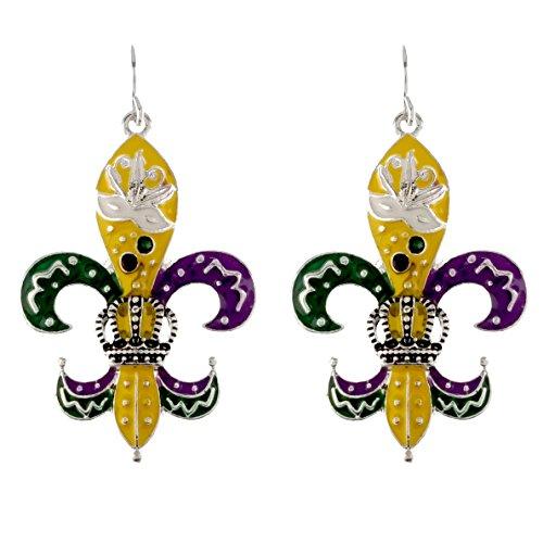 Mardi Gras Theme Earrings (Filigree Handpainted) (Mardi Gras Fashion)