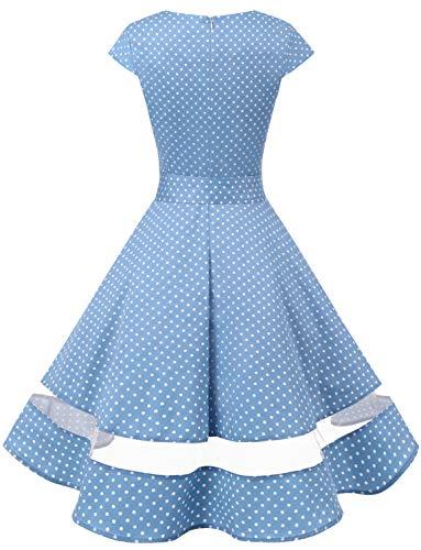 Da 1950 Corte Partito Swing Retrò Audery Small Cocktail Polka Gardenwed Con Vestito Rockabilly White Dot Maniche Abito Annata Blue xwS5YqRH