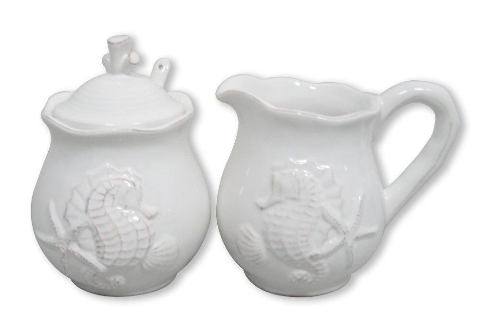 Blue Sky Ceramic Seahorse Sugar & Creamer Set, White
