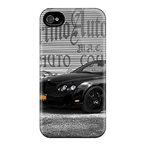 Iphone 4/4s Hard Back With Bumper Silicone Gel Tpu Case Cover All Black Bentley