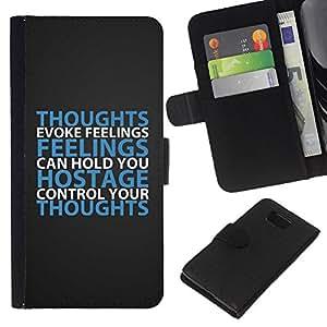 KLONGSHOP // Tirón de la caja Cartera de cuero con ranuras para tarjetas - Sentimientos BIBLIA Pensamiento Evoke - Samsung ALPHA G850 //
