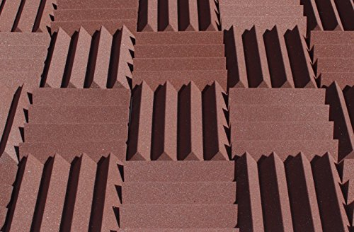Wedge Style Acoustic Foam Panels 2 Pack - 12in x 12in x 3 Inch Thick Tiles - Soundproofing Acoustic Studio Foam - Brown Color