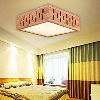 yxhflo Anmelden Massivholz Deckenleuchte Holz- LED-Licht Holzbalken ...